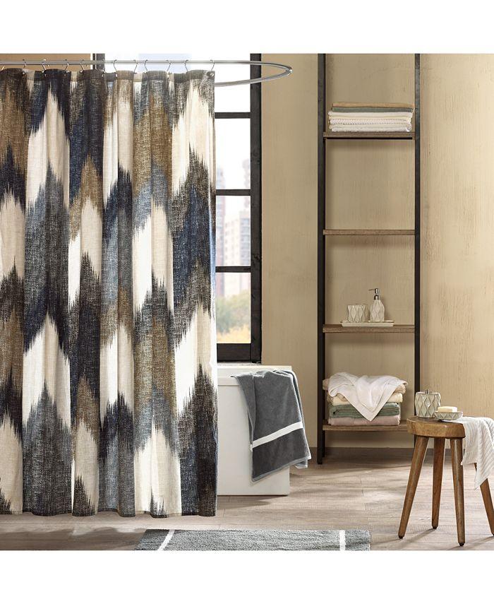 """INK+IVY - Alpine Cotton 72"""" x 72"""" Broken Chevron-Print Shower Curtain"""