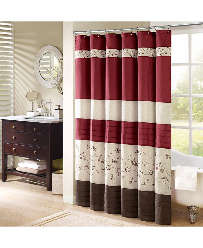 """Madison Park - Serene 72"""" x 72"""" Colorblocked Embroidered Shower Curtain"""
