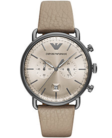 Emporio Armani Men's Chronograph Taupe Leather Strap Watch 43mm