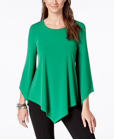 Alfani Petite V-Hem Asymmetrical-Sleeve Top, Created for Macy's