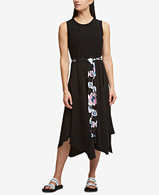 DKNY Belted Handkerchief-Hem Dress