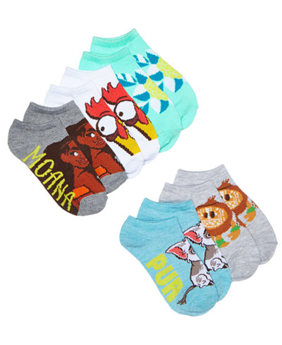 Disney's® Moana 5-Pk. Graphic-Print Socks, Little Girls & Big Girls