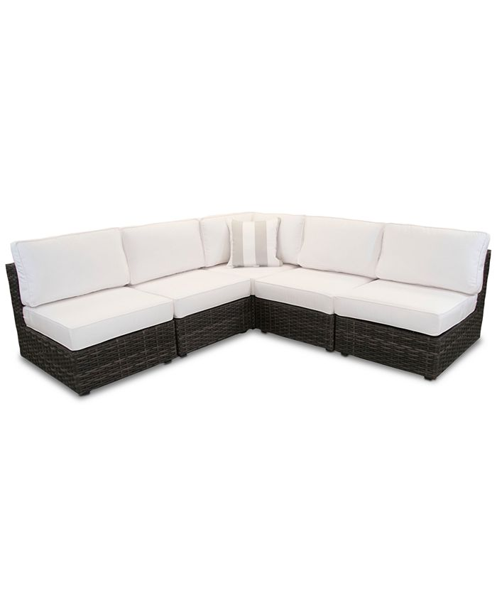 Furniture - Viewport Outdoor 5-Pc. Modern Modular Seating Set (4 Armless Units and 1 Corner Unit) with Sunbrella® Cushions
