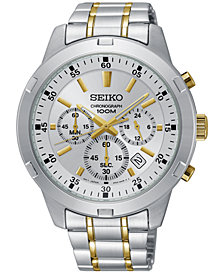 Seiko Men's Chronograph Special Value Two-Tone Stainless Steel Bracelet Watch 43.5mm