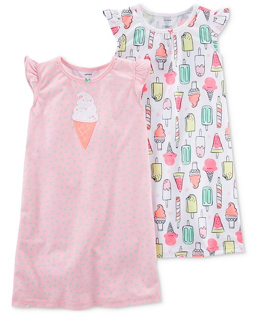 09dde47fe Carter s 2-Pack Ice Cream-Print Nightgowns