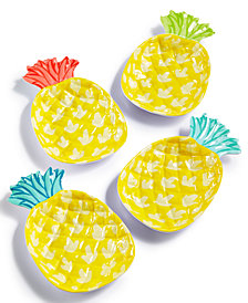 Martha Stewart Collection 4-Pc. Pineapple Appetizer Plate Set, Created for Macy's