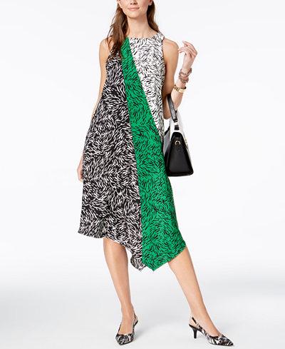 Alfani Petite Colorblocked-Print Asymmetrical Dress, Created for Macy's