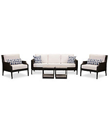 Fiji Aluminum Outdoor 5-Pc. Seating Set (1 Sofa, 2 Accent Club Chairs & 2 End Tables) with Sunbrella® Cushions, Created for Macy's