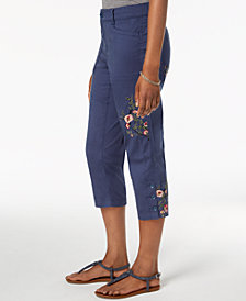 Style & Co Embroidered Capri Pants, Created for Macy's