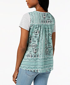 Style & Co Scoop-Neck Contrast T-Shirt, Created for Macy's