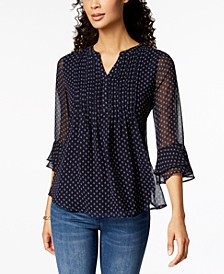 Petite Print Pleated Top, Created for Macy's