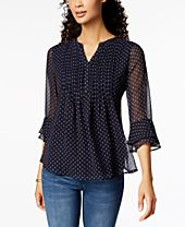 Charter Club Printed Pintucked Top, Created for Macy's