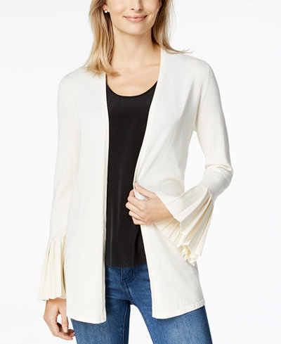 Charter Club Petite Pleated-Sleeve Open-Front Cardigan, Created for Macy's