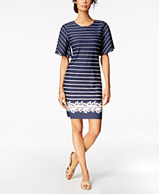 Charter Club Mixed-Print Flutter-Sleeve Dress, Created for Macy's