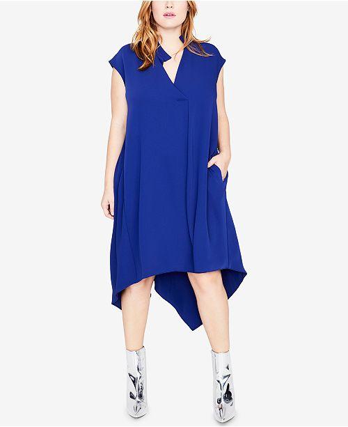 RACHEL Rachel Roy Trendy Plus Size Handkerchief-Hem Dress & Reviews ...