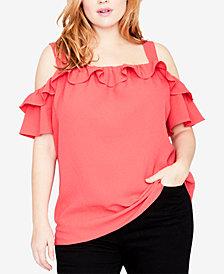 RACHEL Rachel Roy Trendy Plus Size Ruffled Cold-Shoulder Top
