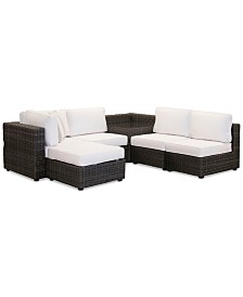 Viewport Outdoor 6-Pc. Modular Seating Set (3 Armless Units, 1 Corner Unit, 1 Corner Table and 1 Ottoman) with Sunbrella® Cushions, Created for Macy's