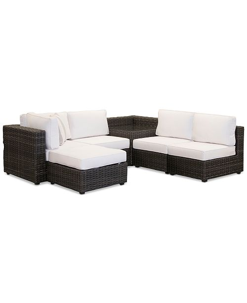Furniture Viewport Outdoor 6-Pc. Modular Seating Set (3 Armless Units, 1 Corner Unit, 1 Corner Table and 1 Ottoman) with Sunbrella® Cushions, Created for Macy's