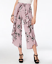 American Rag Juniors' Floral-Print Ruffled Pants, Created for Macy's
