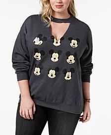 Hybrid Plus Size Mickey Mouse Faces Sweatshirt
