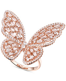 Cubic Zirconia Butterfly Ring in 14k Rose Gold-Plated Sterling Silver