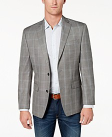 Men's Classic-Fit Grey Plaid Sport Coat
