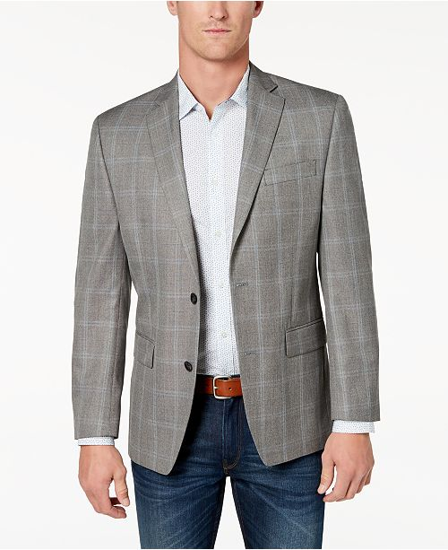 2f195b3eb6c6 Michael Kors Men s Classic-Fit Brown Plaid Sport Coat   Reviews ...