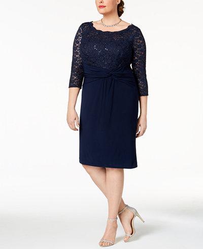 Alex Evenings Plus Size Sequined Lace & Ruched Dress