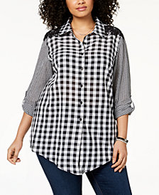 Style & Co Plus Size Cotton Gingham Tunic, Created for Macy's
