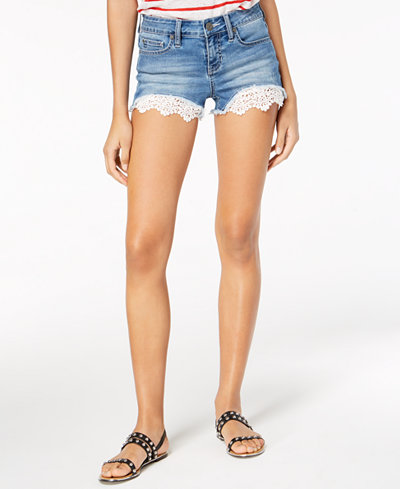 Blue Desire Juniors' Lace-Hem Denim Shorts