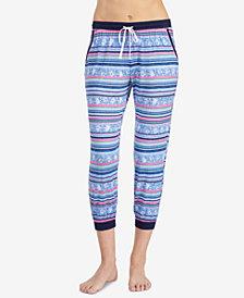 Layla Striped Contrast-Trim Cropped Pajama Pant