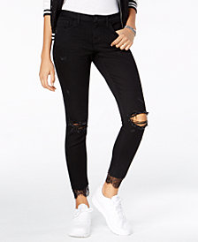 Blue Desire Juniors' Lace-Cuff Ripped Jeans