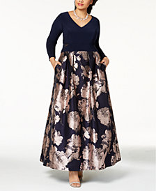 Xscape Plus Size Illusion Brocade Ball Gown