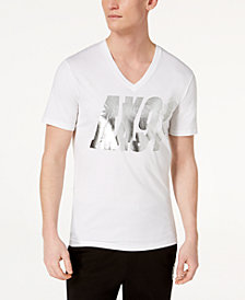 A|X Armani Exchange Men's Metallic Logo-Print V-Neck T-Shirt
