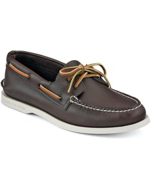SPERRY Men'S Authentic Original Two Eye Leather Boat Shoes in Classic Brown