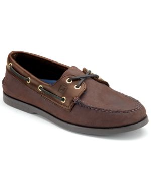 SPERRY Men'S Authentic Original Two Eye Nubuck Leather Boat Shoes in Brown Buck