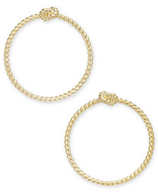 kate spade new york Gold-Tone Knot Textured Drop Hoop Earrings