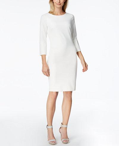 Calvin Klein Split-Sleeve Scuba Sheath Dress