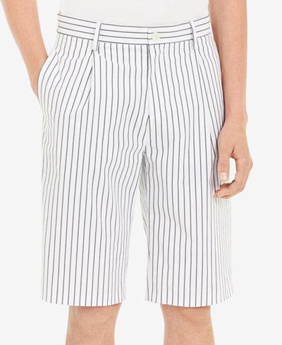 Calvin Klein Men's Pleated Stretch Stripe Shorts