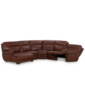 Myars 5-Pc. Leather Chaise Sectional Sofa With 1 Power Recliner, Power Headrests, And USB Power Outlet, Created for Macy's