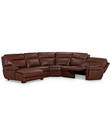 CLOSEOUT! Myars 5-Pc. Leather Chaise Sectional Sofa With 1 Power Recliner, Power Headrests, And USB Power Outlet, Created for Macy's