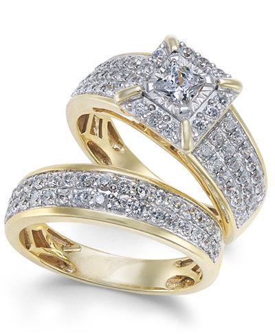 Diamond Princess Pavé Bridal Set (1-1/2 ct. t.w.) in 14k Gold