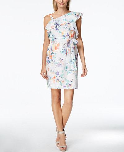 Calvin Klein Cotton Printed One-Shoulder Flounce Dress