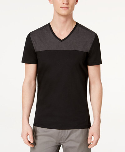 Calvin Klein Men's Mix-Media Colorblocked V-Neck T-Shirt