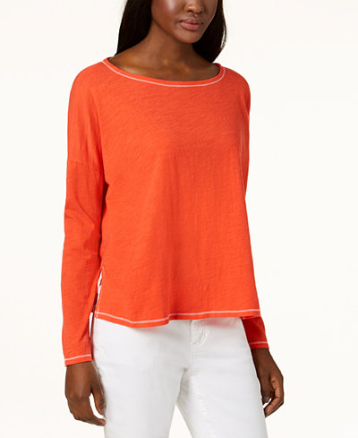 Eileen Fisher Contrast-Stitch Organic Cotton Top