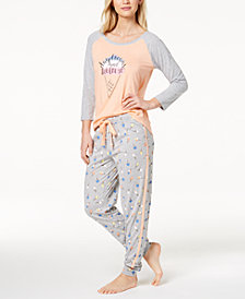 Jenni by Jennifer Moore Baseball Pajama Top & Jogger Pajama Pants Sleep Separates, Created for Macy's