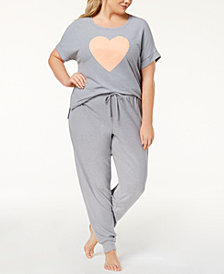 Jenni by Jennifer Moore Hacci Plus Size Graphic Pajama Top & Jogger Pants Sleep Separates, Created for Macy's