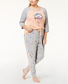 Jenni by Jennifer Moore Plus Size Baseball Pajama Top & Printed Jogger Pajama Pants Sleep Separates, Created for Macy's
