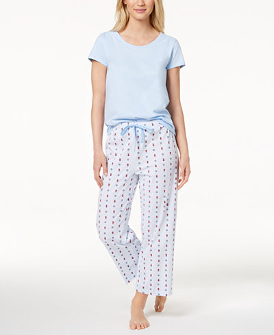 Charter Club Solid Pajama Top & Printed Pajama Pants Sleep Separates, Created for Macy's
