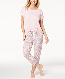 DKNY Solid Pajama Top & Printed Pajama Pants Sleep Separates